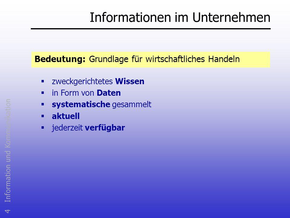 4 Information und Kommunikation Informationen im Unternehmen Bedeutung: Grundlage für wirtschaftliches Handeln zweckgerichtetes Wissen in Form von Dat