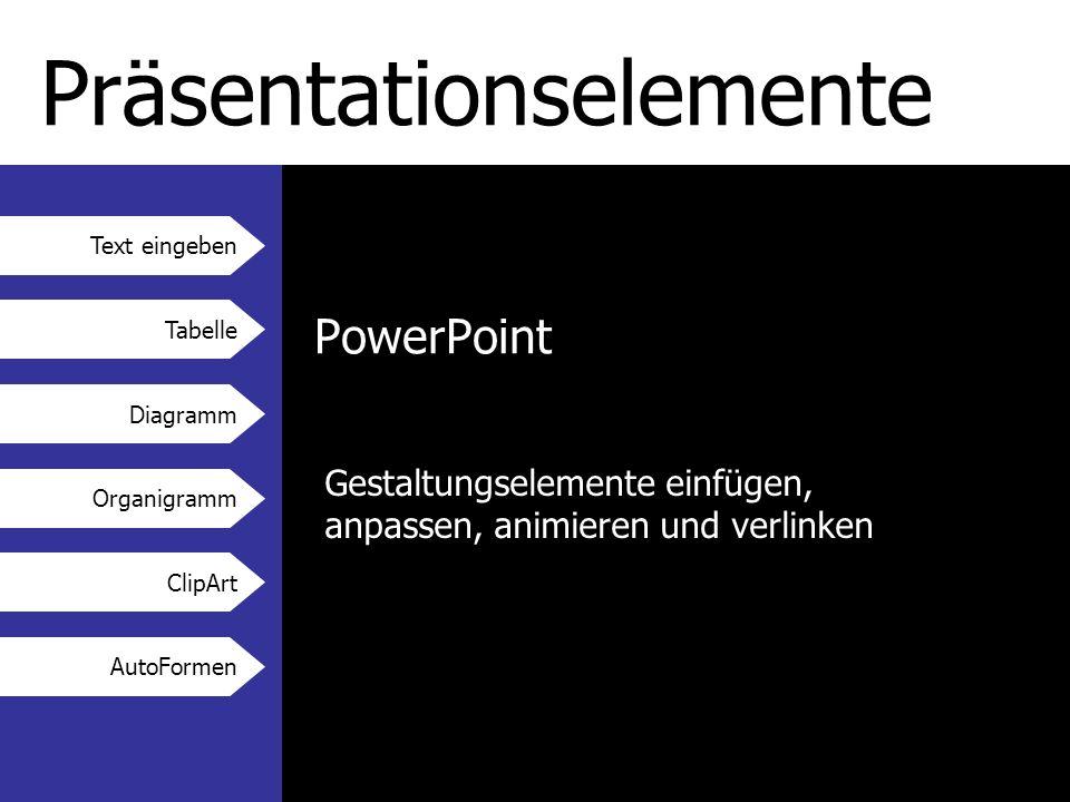 Text eingeben Tabelle Diagramm Organigramm ClipArt AutoFormen Präsentationselemente PowerPoint Gestaltungselemente einfügen, anpassen, animieren und verlinken