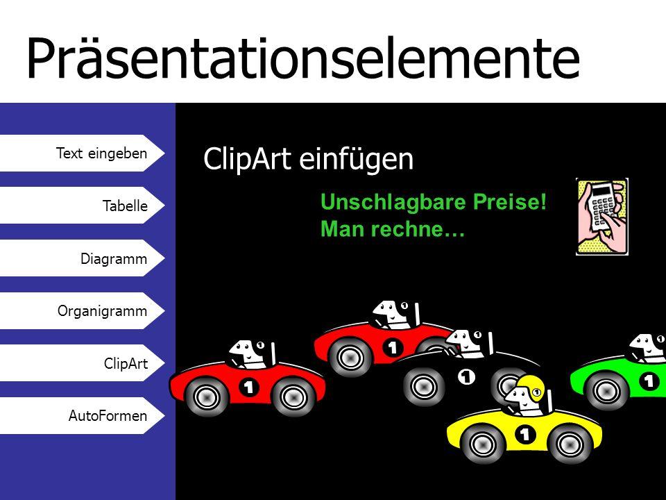 Text eingeben Tabelle Diagramm Organigramm ClipArt AutoFormen Präsentationselemente ClipArt einfügen Unschlagbare Preise.