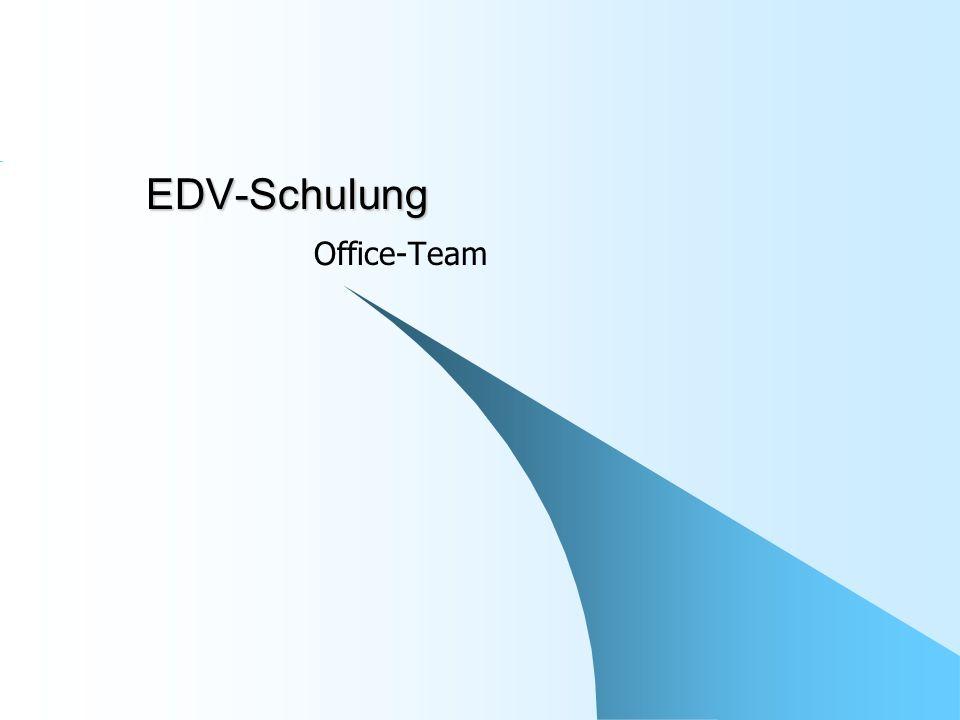 Office-Team: EDV-Schulung 2Vorstellung Definieren Sie das Thema.