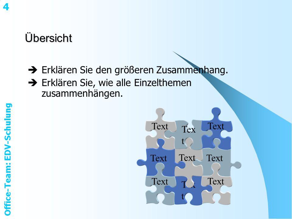 Office-Team: EDV-Schulung 4Übersicht Erklären Sie den größeren Zusammenhang.