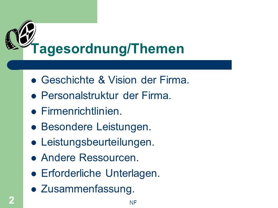 NF 2 Tagesordnung/Themen Geschichte & Vision der Firma.