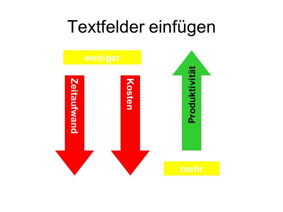 Textfelder einfügen ZeitaufwandKosten Produktivität weniger mehr