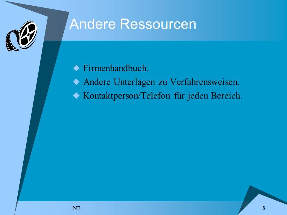 NF 8 Andere Ressourcen Firmenhandbuch. Andere Unterlagen zu Verfahrensweisen. Kontaktperson/Telefon für jeden Bereich.