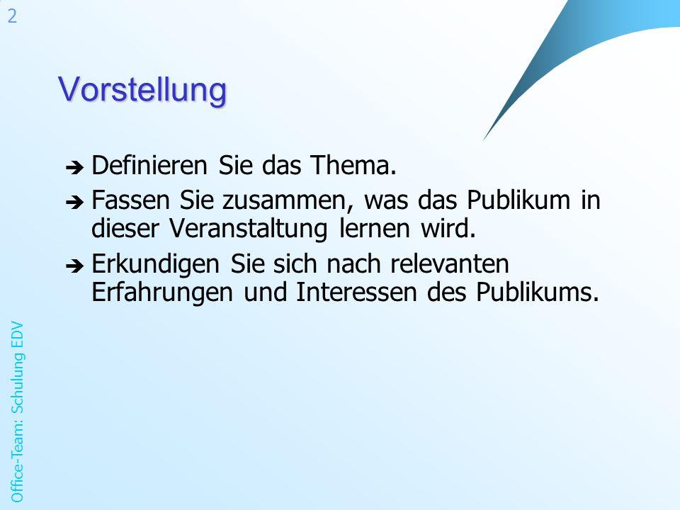 Office-Team: Schulung EDV 2Vorstellung Definieren Sie das Thema.