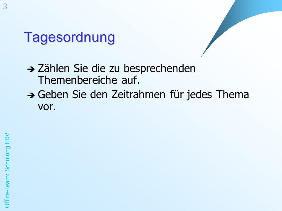 Office-Team: Schulung EDV 3Tagesordnung Zählen Sie die zu besprechenden Themenbereiche auf.