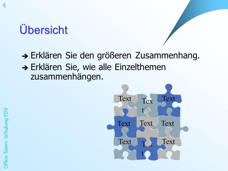 Office-Team: Schulung EDV 4Übersicht Erklären Sie den größeren Zusammenhang. Erklären Sie, wie alle Einzelthemen zusammenhängen. Text