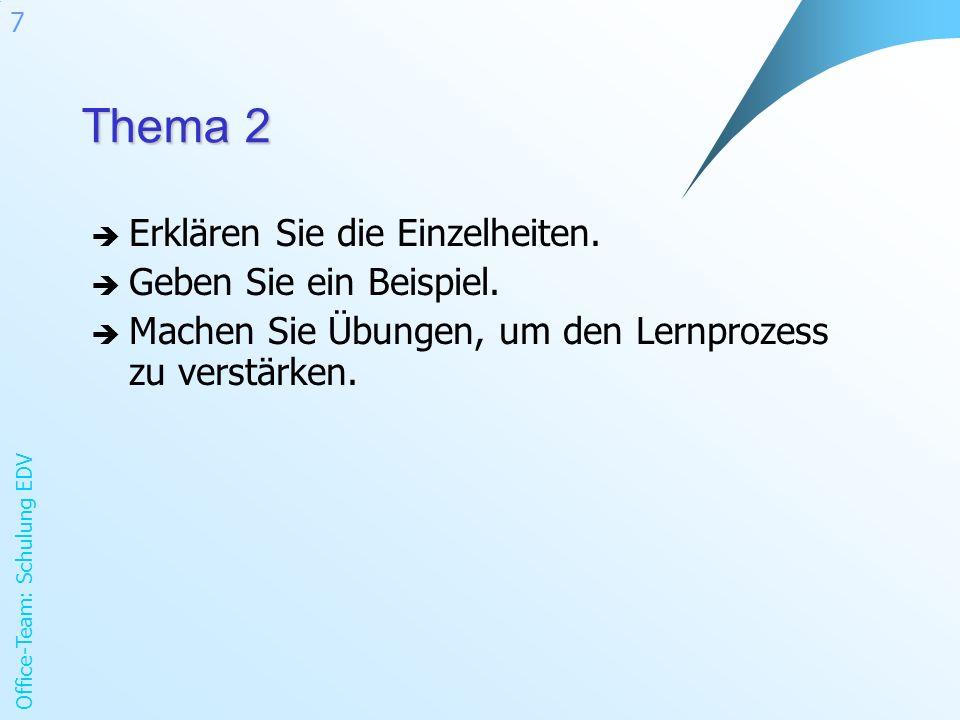 Office-Team: Schulung EDV 7 Thema 2 Erklären Sie die Einzelheiten. Geben Sie ein Beispiel. Machen Sie Übungen, um den Lernprozess zu verstärken.