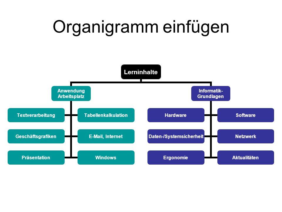 Organigramm einfügen Lerninhalte Anwendung Arbeitsplatz TextverarbeitungTabellenkalkulation GeschäftsgrafikenE-Mail, Internet PräsentationWindows Info