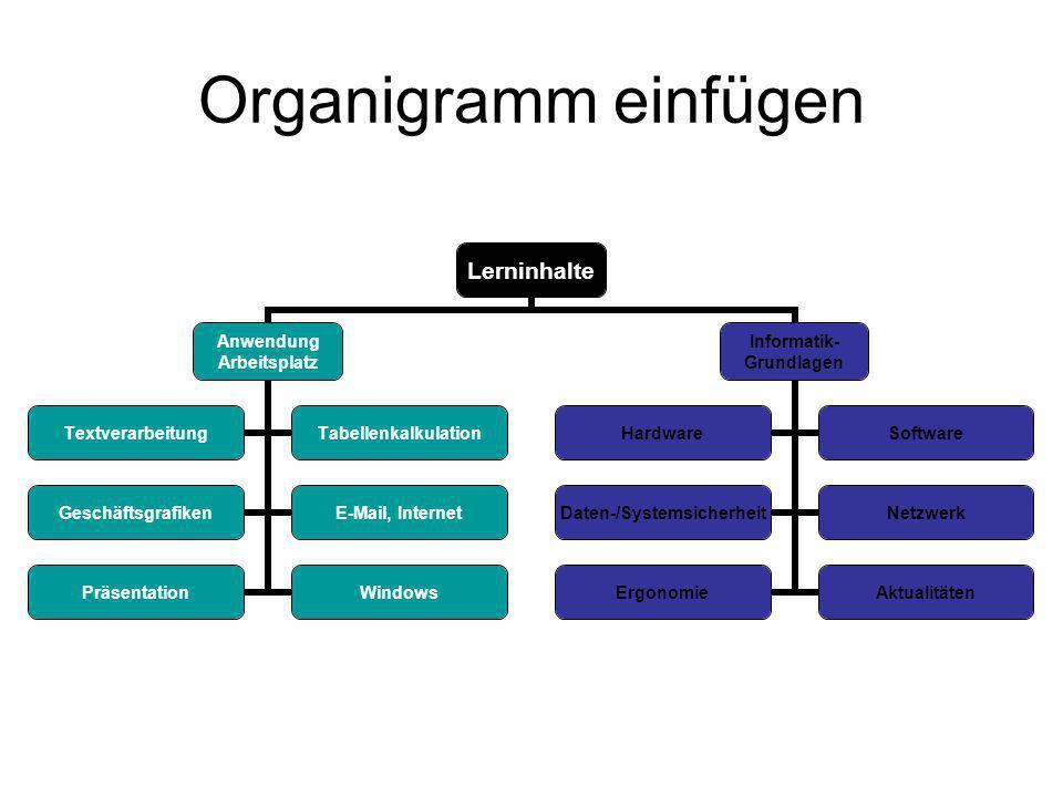 Organigramm einfügen Lerninhalte Anwendung Arbeitsplatz TextverarbeitungTabellenkalkulation GeschäftsgrafikenE-Mail, Internet PräsentationWindows Informatik- Grundlagen HardwareSoftware Daten- /Systemsicherheit Netzwerk ErgonomieAktualitäten