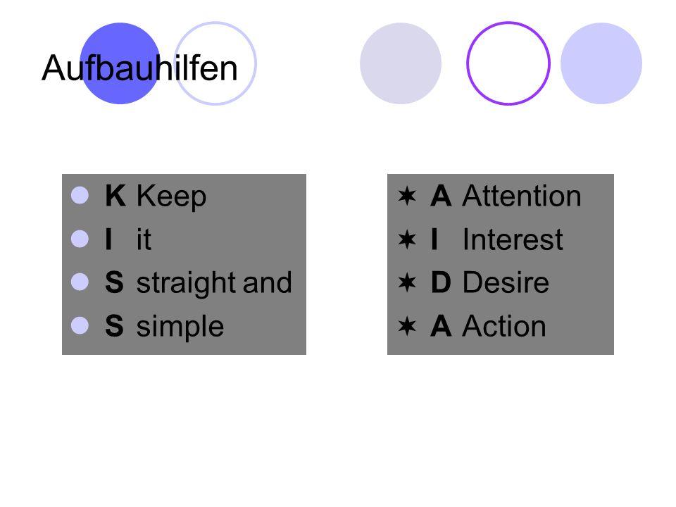 Aufbauhilfen KKeep Iit Sstraight and Ssimple AAttention IInterest DDesire AAction
