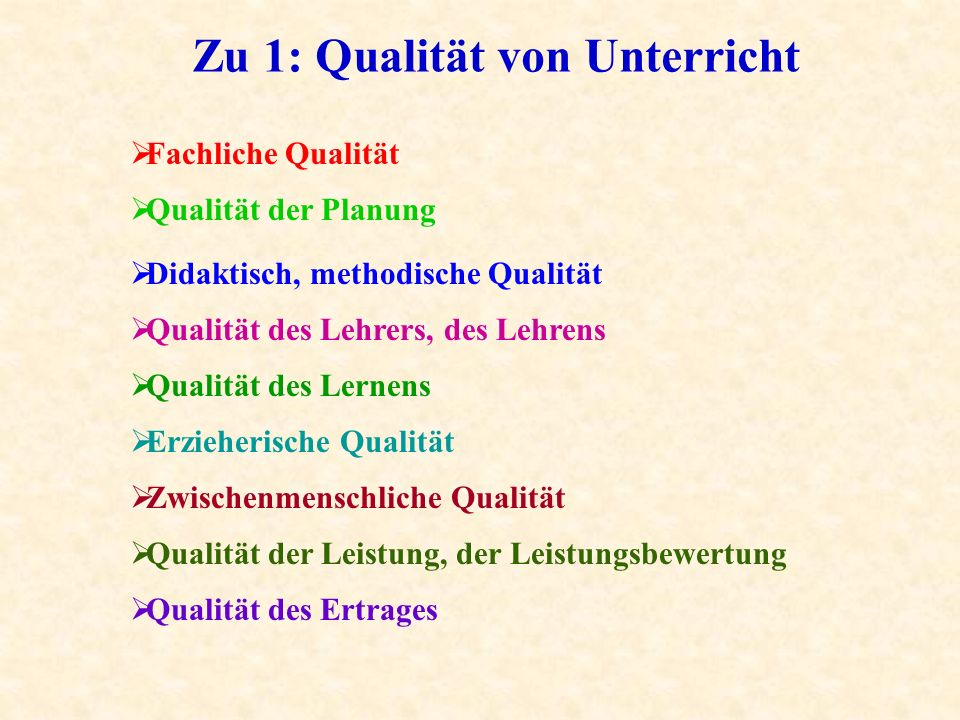 Zu 1: Qualität von Unterricht Qualität der Planung Fachliche Qualität Didaktisch, methodische Qualität Qualität des Lehrers, des Lehrens Qualität des Lernens Erzieherische Qualität Zwischenmenschliche Qualität Qualität der Leistung, der Leistungsbewertung Qualität des Ertrages