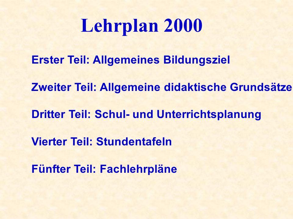 Lehrplan 2000 Erster Teil: Allgemeines Bildungsziel Zweiter Teil: Allgemeine didaktische Grundsätze Dritter Teil: Schul- und Unterrichtsplanung Vierte