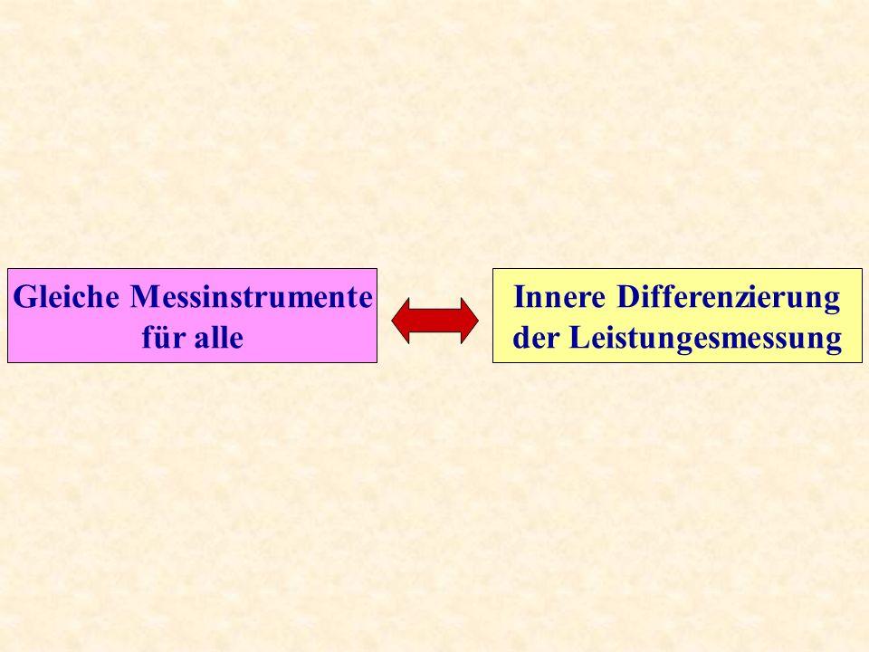 Gleiche Messinstrumente für alle Innere Differenzierung der Leistungesmessung