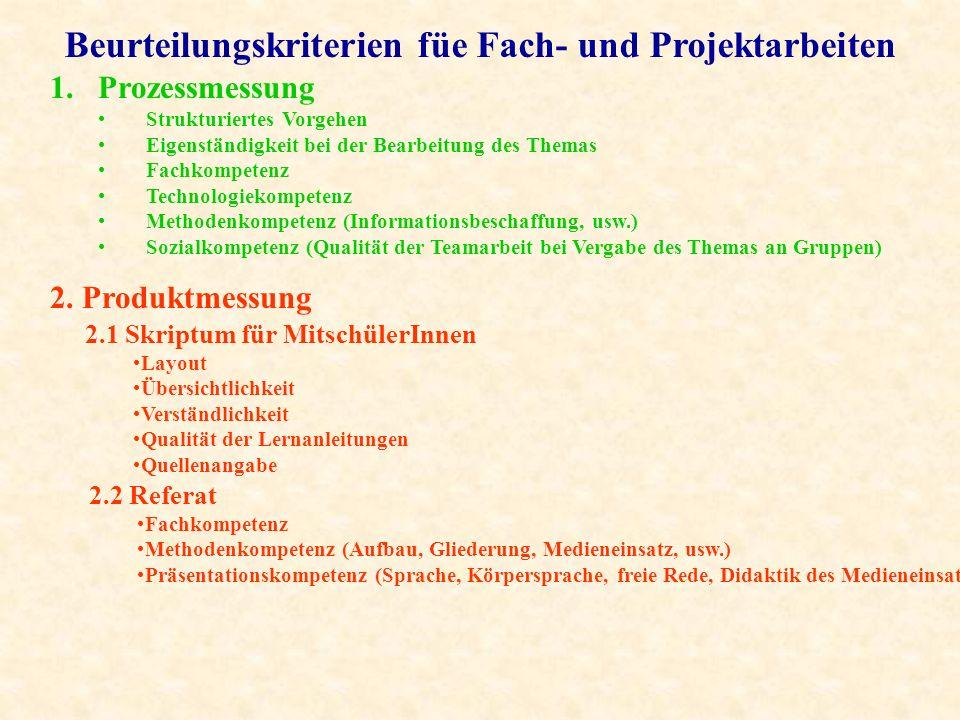 Beurteilungskriterien füe Fach- und Projektarbeiten 1.Prozessmessung Strukturiertes Vorgehen Eigenständigkeit bei der Bearbeitung des Themas Fachkompe