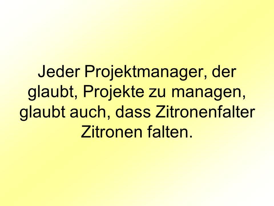 Jeder Projektmanager, der glaubt, Projekte zu managen, glaubt auch, dass Zitronenfalter Zitronen falten.