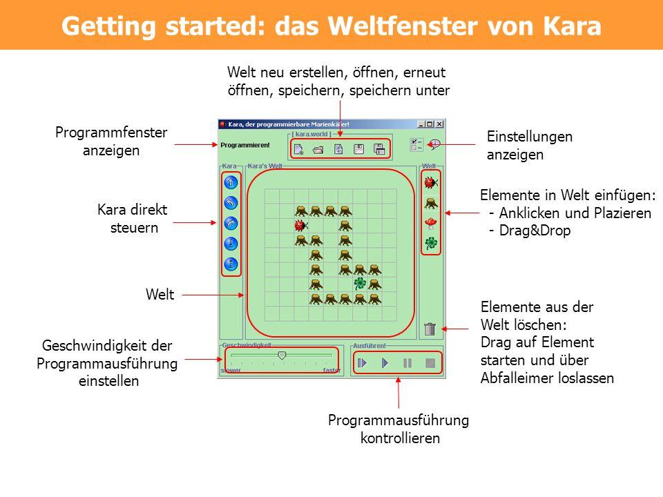Getting started: das Weltfenster von Kara Kara direkt steuern Welt neu erstellen, öffnen, erneut öffnen, speichern, speichern unter Elemente in Welt e