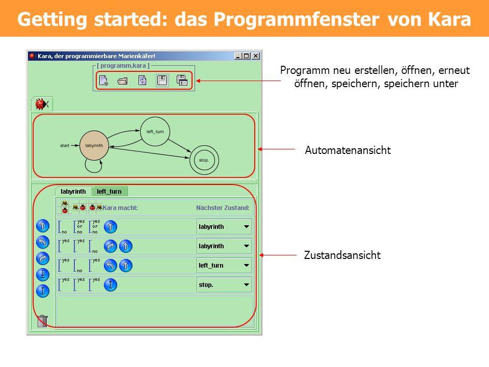 Getting started: das Programmfenster von Kara Programm neu erstellen, öffnen, erneut öffnen, speichern, speichern unter Automatenansicht Zustandsansic