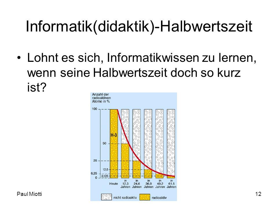 Paul MiottiFD IN I - HS 08/09 - Woche 0112 Informatik(didaktik)-Halbwertszeit Lohnt es sich, Informatikwissen zu lernen, wenn seine Halbwertszeit doch
