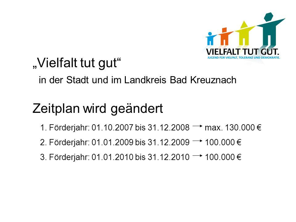 Vielfalt tut gut in der Stadt und im Landkreis Bad Kreuznach Zeitplan wird geändert 1. Förderjahr: 01.10.2007 bis 31.12.2008 max. 130.000 2. Förderjah