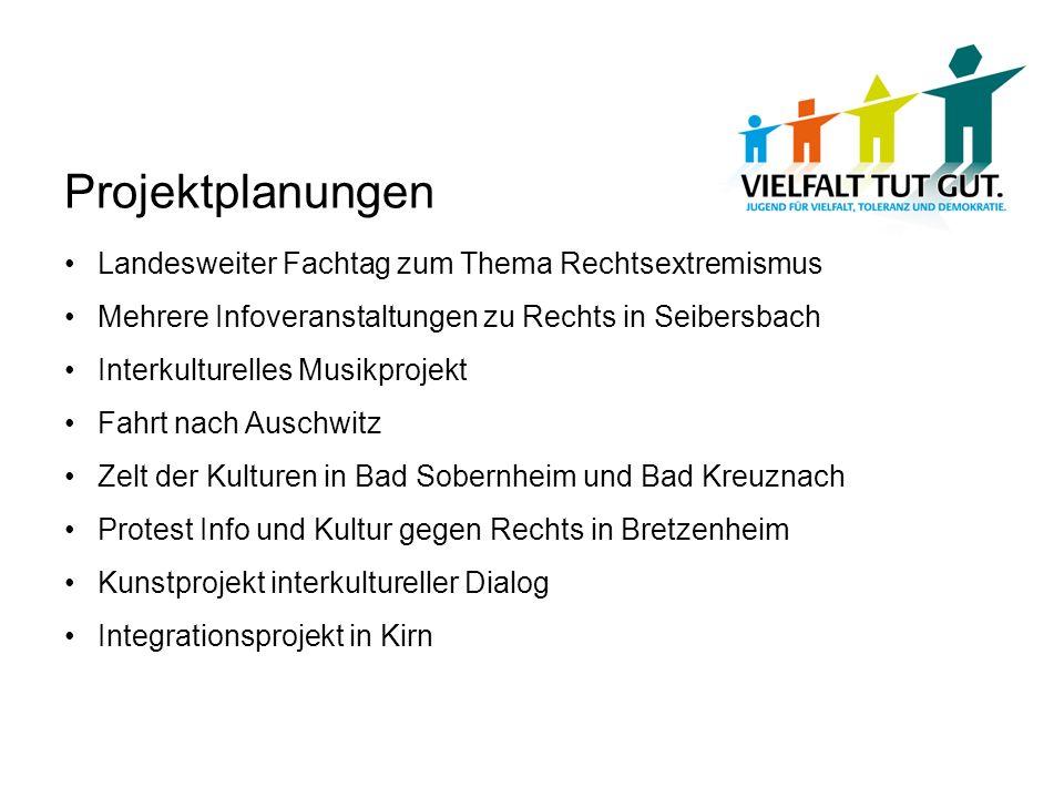 Projektplanungen Landesweiter Fachtag zum Thema Rechtsextremismus Mehrere Infoveranstaltungen zu Rechts in Seibersbach Interkulturelles Musikprojekt F
