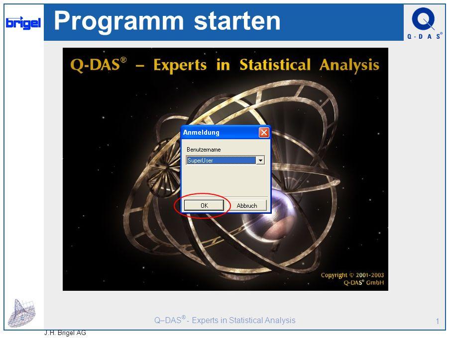 Q–DAS ® - Experts in Statistical Analysis J.H. Brigel AG 1 Programm starten