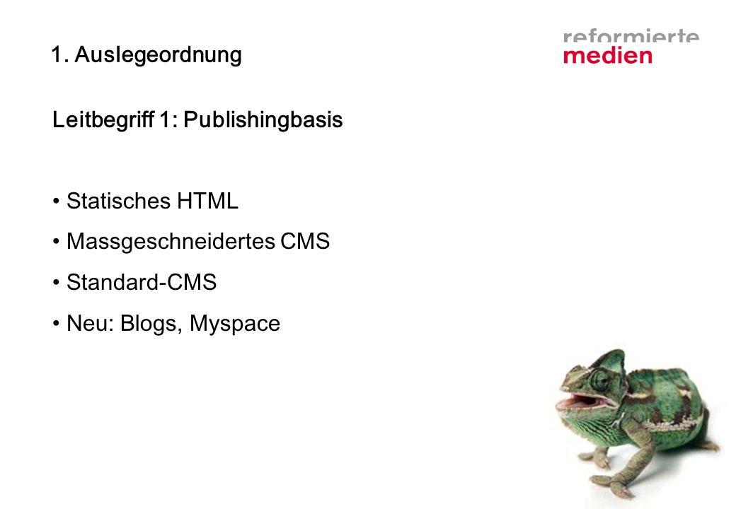 1. Auslegeordnung Leitbegriff 1: Publishingbasis Statisches HTML Massgeschneidertes CMS Standard-CMS Neu: Blogs, Myspace