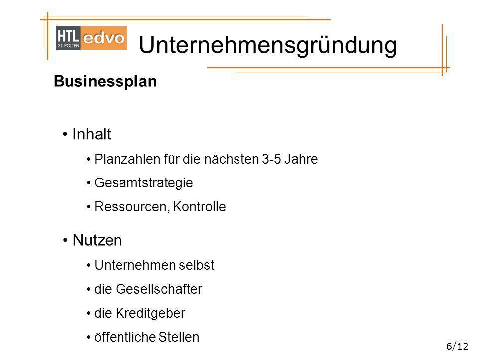 Unternehmensgründung 6/12 Businessplan Inhalt Planzahlen für die nächsten 3-5 Jahre Gesamtstrategie Ressourcen, Kontrolle Nutzen Unternehmen selbst di