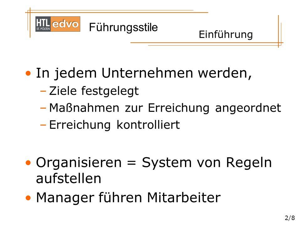 Führungsstile 2/8 In jedem Unternehmen werden, –Ziele festgelegt –Maßnahmen zur Erreichung angeordnet –Erreichung kontrolliert Organisieren = System von Regeln aufstellen Manager führen Mitarbeiter Einführung