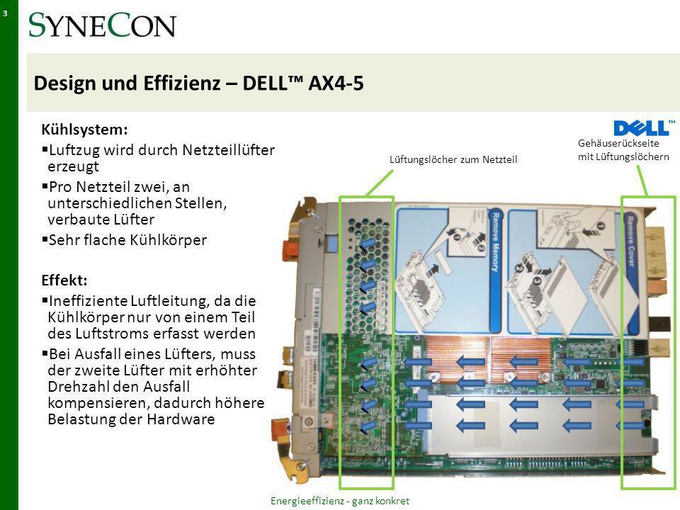 Design und Effizienz – DELL AX4-5 Kühlsystem: Luftzug wird durch Netzteillüfter erzeugt Pro Netzteil zwei, an unterschiedlichen Stellen, verbaute Lüfter Sehr flache Kühlkörper Effekt: Ineffiziente Luftleitung, da die Kühlkörper nur von einem Teil des Luftstroms erfasst werden Bei Ausfall eines Lüfters, muss der zweite Lüfter mit erhöhter Drehzahl den Ausfall kompensieren, dadurch höhere Belastung der Hardware Energieeffizienz - ganz konkret 3 Lüftungslöcher zum Netzteil Gehäuserückseite mit Lüftungslöchern