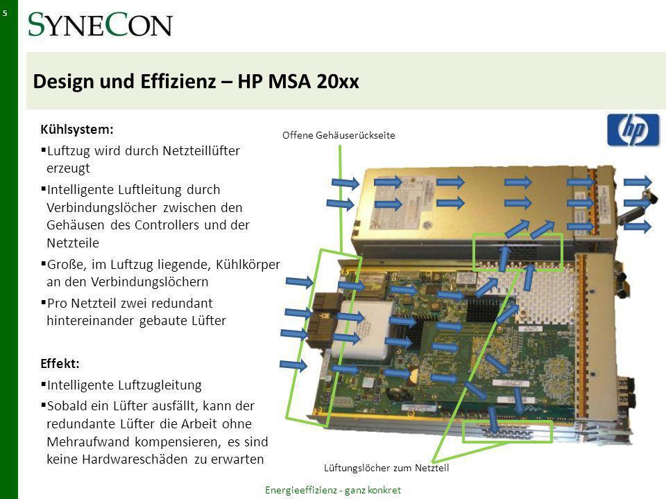 Design und Effizienz – HP MSA 20xx Energieeffizienz - ganz konkret 5 Lüftungslöcher zum Netzteil Offene Gehäuserückseite Kühlsystem: Luftzug wird durch Netzteillüfter erzeugt Intelligente Luftleitung durch Verbindungslöcher zwischen den Gehäusen des Controllers und der Netzteile Große, im Luftzug liegende, Kühlkörper an den Verbindungslöchern Pro Netzteil zwei redundant hintereinander gebaute Lüfter Effekt: Intelligente Luftzugleitung Sobald ein Lüfter ausfällt, kann der redundante Lüfter die Arbeit ohne Mehraufwand kompensieren, es sind keine Hardwareschäden zu erwarten
