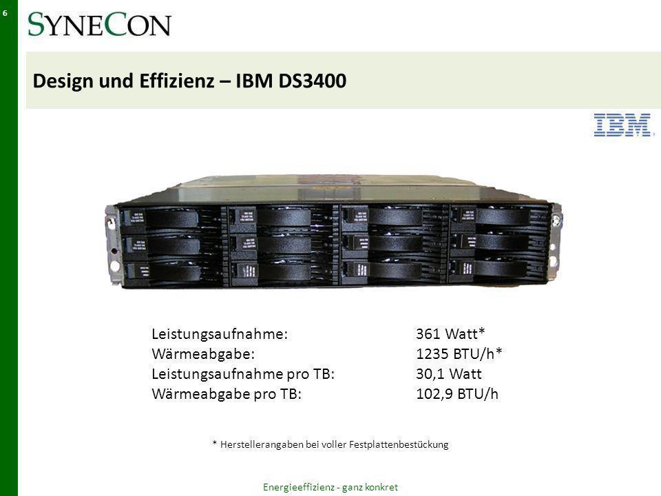 Design und Effizienz – IBM DS3400 Energieeffizienz - ganz konkret 6 Leistungsaufnahme:361 Watt* Wärmeabgabe:1235 BTU/h* Leistungsaufnahme pro TB:30,1 Watt Wärmeabgabe pro TB:102,9 BTU/h * Herstellerangaben bei voller Festplattenbestückung