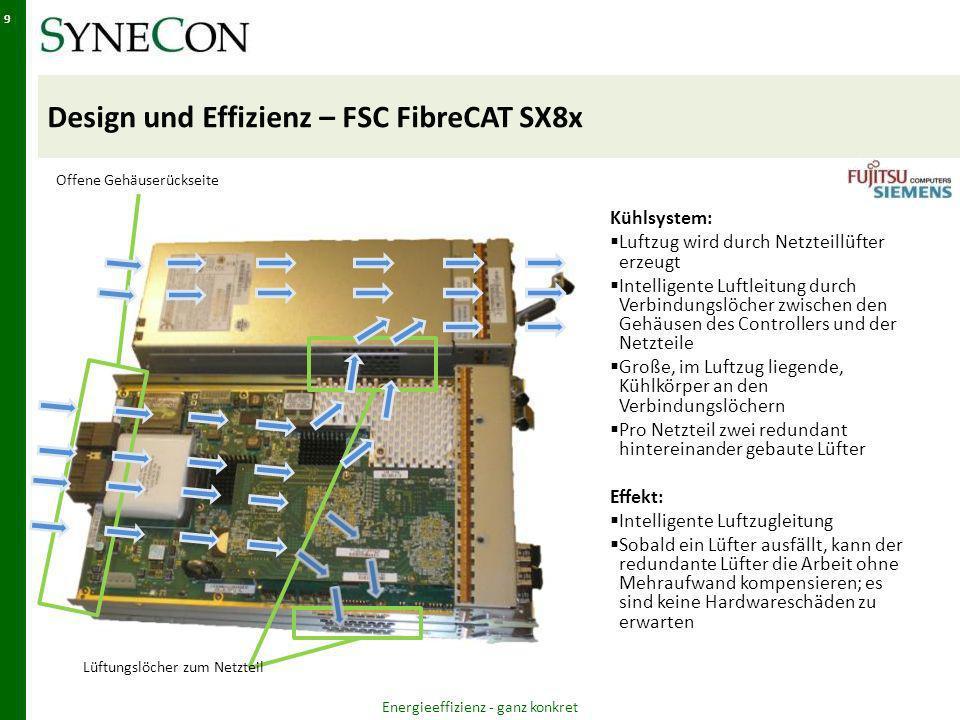Design und Effizienz – FSC FibreCAT SX8x Energieeffizienz - ganz konkret 9 Lüftungslöcher zum Netzteil Offene Gehäuserückseite Kühlsystem: Luftzug wird durch Netzteillüfter erzeugt Intelligente Luftleitung durch Verbindungslöcher zwischen den Gehäusen des Controllers und der Netzteile Große, im Luftzug liegende, Kühlkörper an den Verbindungslöchern Pro Netzteil zwei redundant hintereinander gebaute Lüfter Effekt: Intelligente Luftzugleitung Sobald ein Lüfter ausfällt, kann der redundante Lüfter die Arbeit ohne Mehraufwand kompensieren; es sind keine Hardwareschäden zu erwarten