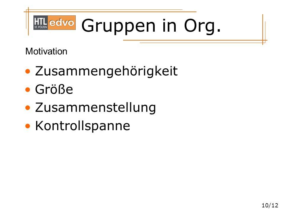 Gruppen in Org. 10/12 Zusammengehörigkeit Größe Zusammenstellung Kontrollspanne Motivation