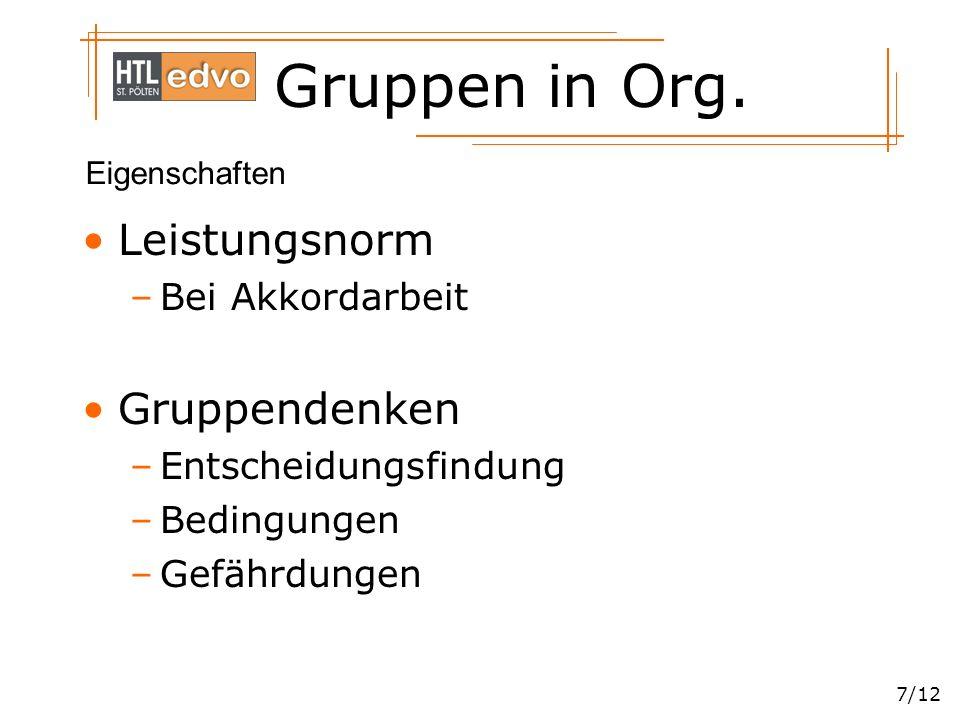 Gruppen in Org. 7/12 Leistungsnorm –Bei Akkordarbeit Gruppendenken –Entscheidungsfindung –Bedingungen –Gefährdungen Eigenschaften