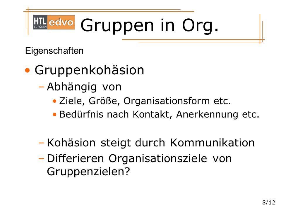 Gruppen in Org. 8/12 Gruppenkohäsion –Abhängig von Ziele, Größe, Organisationsform etc. Bedürfnis nach Kontakt, Anerkennung etc. –Kohäsion steigt durc