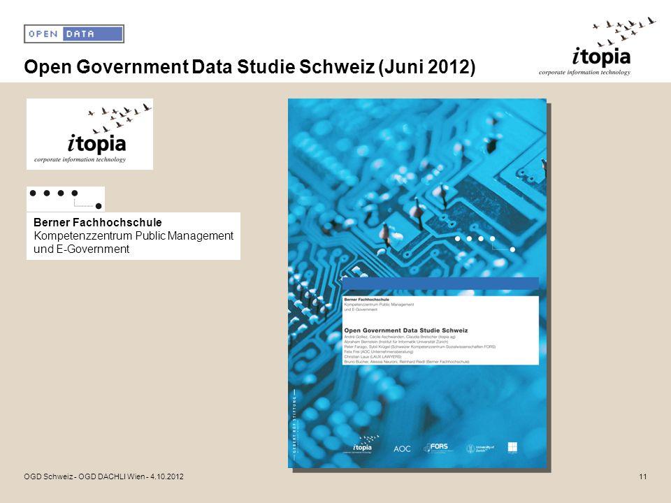 Open Government Data Studie Schweiz (Juni 2012) 11OGD Schweiz - OGD DACHLI Wien - 4.10.2012 Berner Fachhochschule Kompetenzzentrum Public Management u
