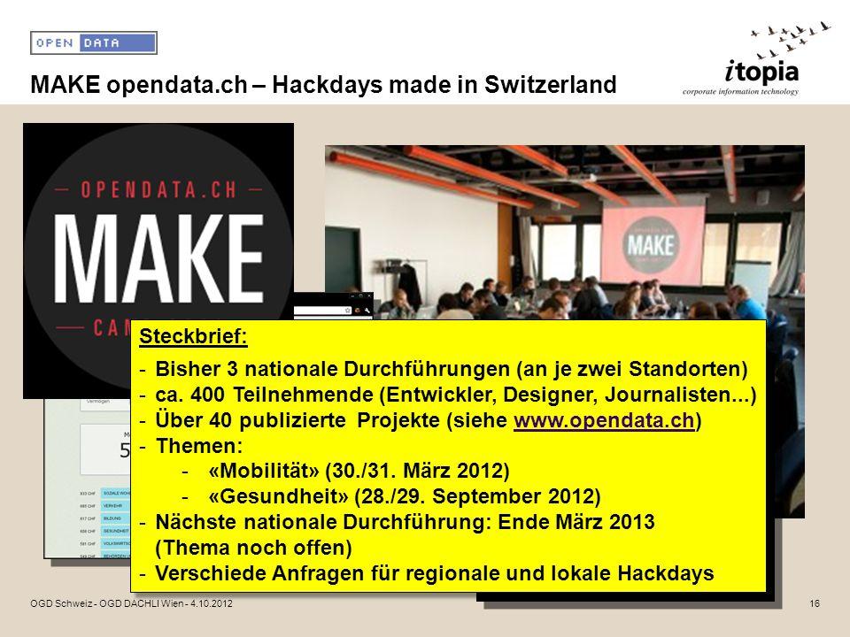 MAKE opendata.ch – Hackdays made in Switzerland 16OGD Schweiz - OGD DACHLI Wien - 4.10.2012 Steckbrief: -Bisher 3 nationale Durchführungen (an je zwei