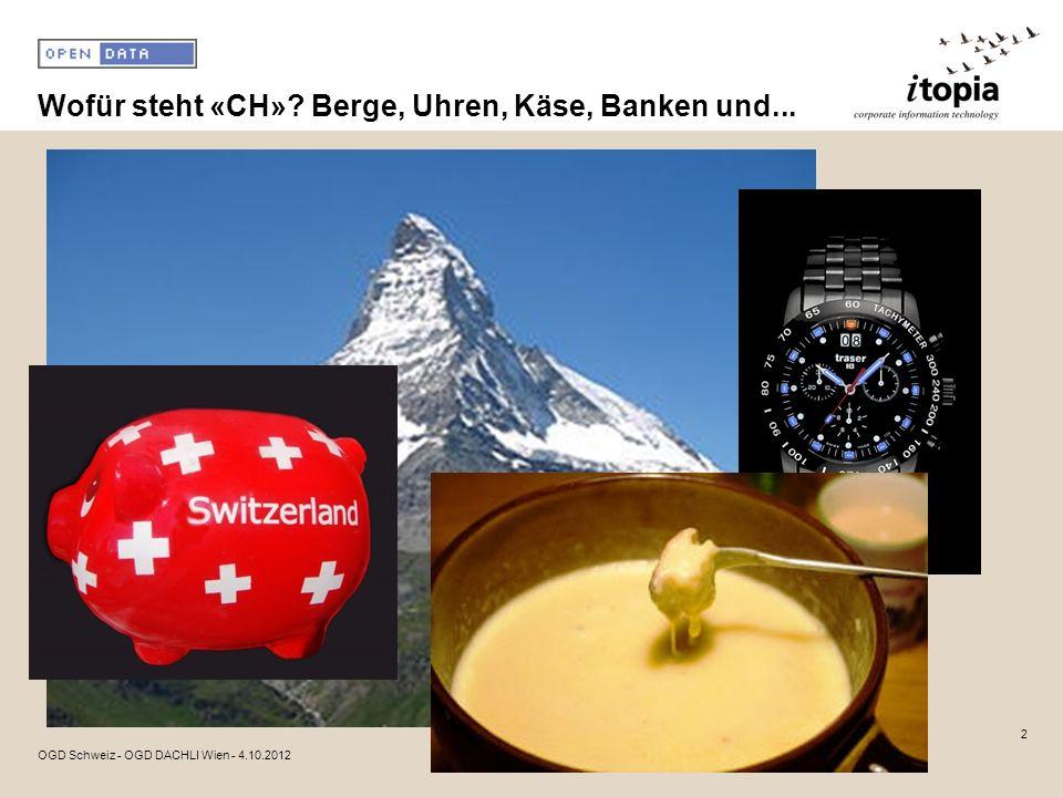 Wofür steht «CH»? Berge, Uhren, Käse, Banken und... 2 OGD Schweiz - OGD DACHLI Wien - 4.10.2012
