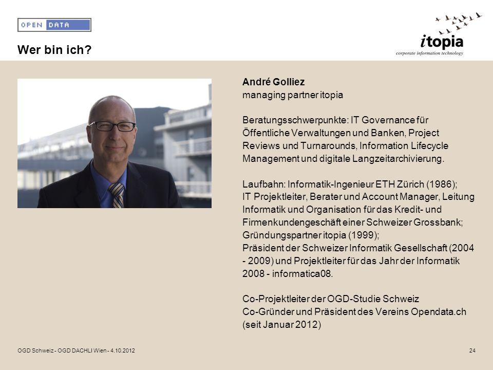 Wer bin ich? André Golliez managing partner itopia Beratungsschwerpunkte: IT Governance für Öffentliche Verwaltungen und Banken, Project Reviews und T
