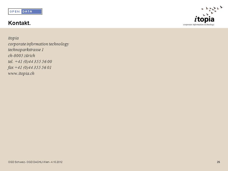 Kontakt. itopia corporate information technology technoparkstrasse 1 ch-8005 zürich tel. +41 (0)44 355 56 00 fax +41 (0)44 355 56 01 www.itopia.ch 25O