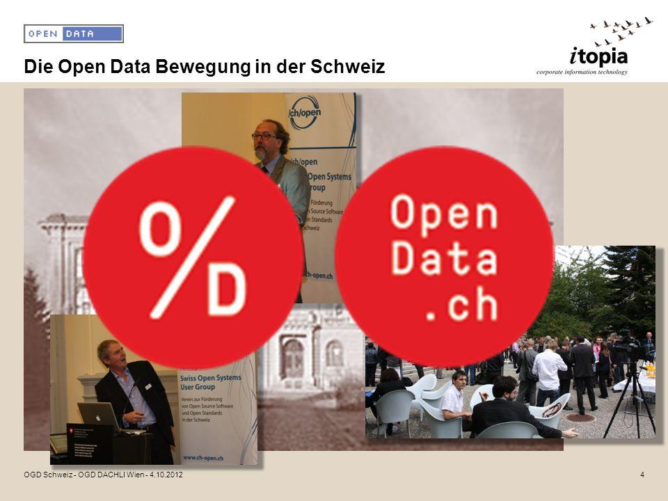 Die Open Data Bewegung in der Schweiz 4OGD Schweiz - OGD DACHLI Wien - 4.10.2012