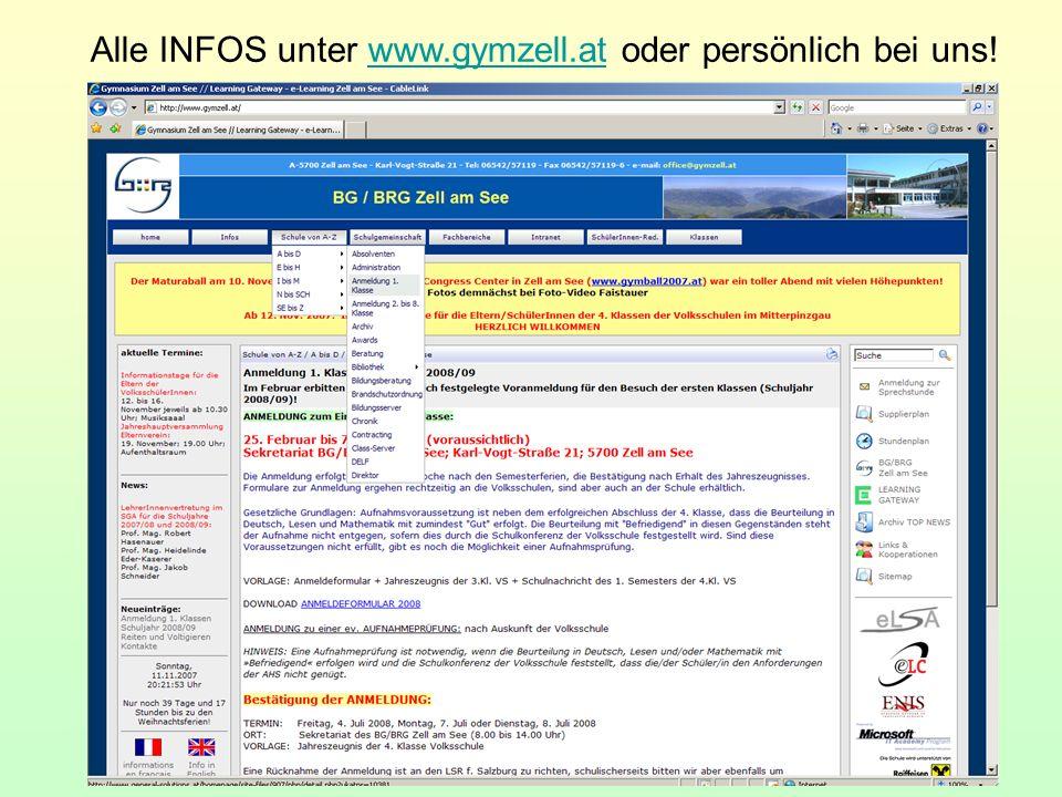 Alle INFOS unter www.gymzell.at oder persönlich bei uns!www.gymzell.at