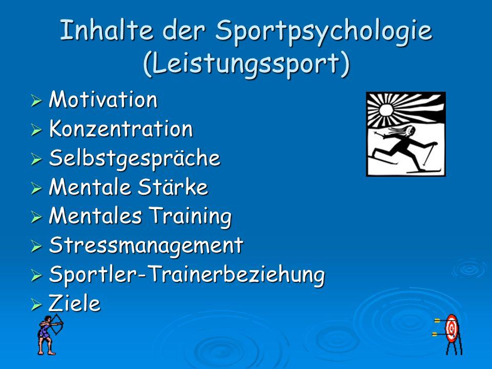 Inhalte der Sportpsychologie (Leistungssport) Motivation Motivation Konzentration Konzentration Selbstgespräche Selbstgespräche Mentale Stärke Mentale