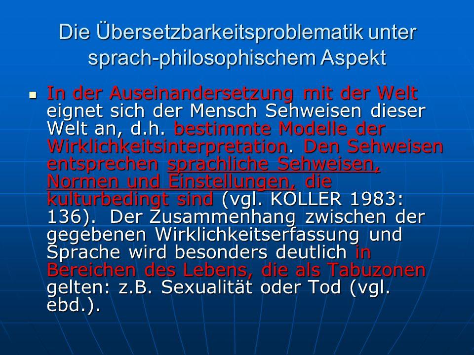 Die Übersetzbarkeitsproblematik unter sprach-philosophischem Aspekt In der Auseinandersetzung mit der Welt eignet sich der Mensch Sehweisen dieser Wel