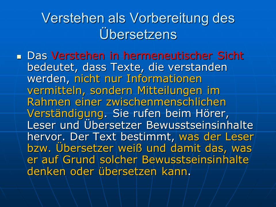 Verstehen als Vorbereitung des Übersetzens Hans-Georg GADAMER schlägt vor, das hermeneutische Phänomen nach dem Modell des Gesprächs zu betrachten (GADAMER 1960: 360 – zitiert nach STOLZE 1994: 191).