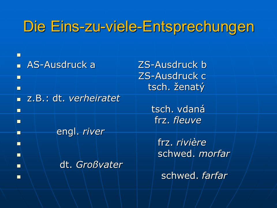 Die Eins-zu-viele-Entsprechungen AS-Ausdruck a ZS-Ausdruck b AS-Ausdruck a ZS-Ausdruck b ZS-Ausdruck c ZS-Ausdruck c tsch. ženatý tsch. ženatý z.B.: d