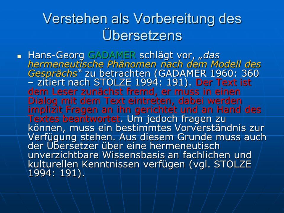 Verstehen als Vorbereitung des Übersetzens Hans-Georg GADAMER schlägt vor, das hermeneutische Phänomen nach dem Modell des Gesprächs zu betrachten (GA