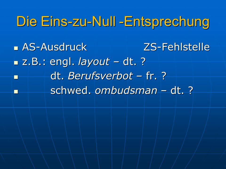 Die Eins-zu-Null -Entsprechung AS-Ausdruck ZS-Fehlstelle AS-Ausdruck ZS-Fehlstelle z.B.: engl. layout – dt. ? z.B.: engl. layout – dt. ? dt. Berufsver