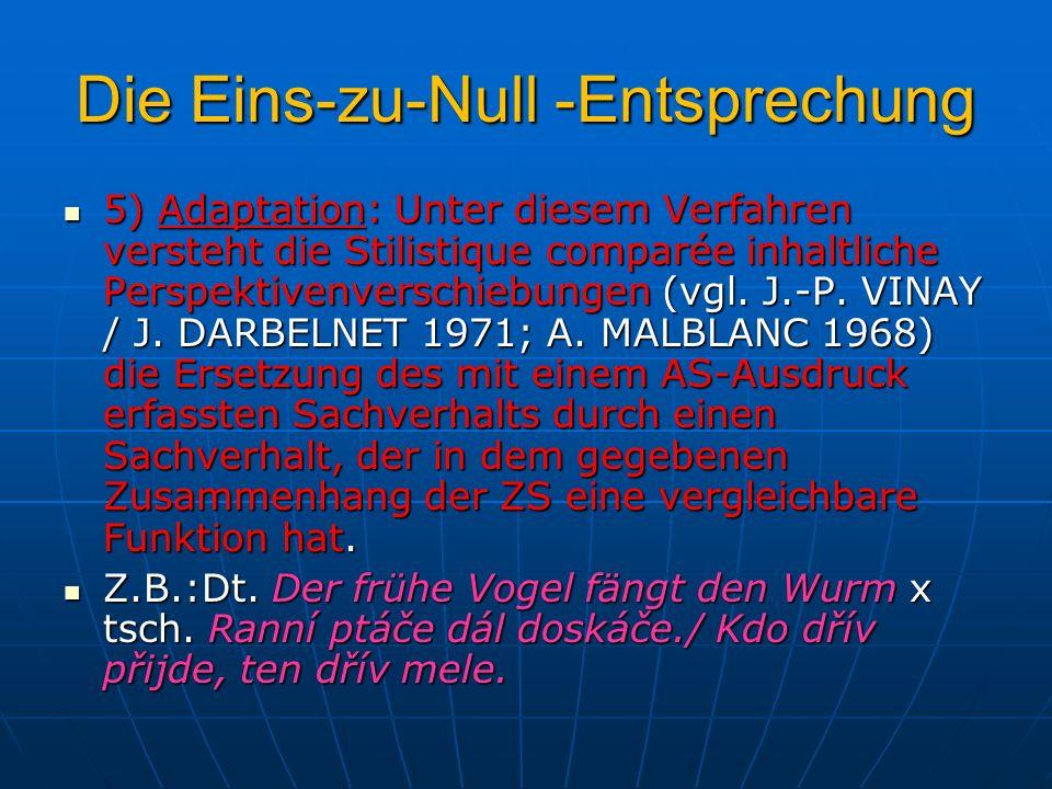Die Eins-zu-Null -Entsprechung 5) Adaptation: Unter diesem Verfahren versteht die Stilistique comparée inhaltliche Perspektivenverschiebungen (vgl. J.